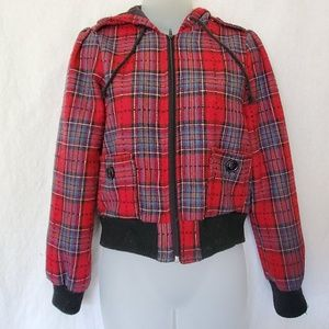 Plaid zip front jacket with hood
